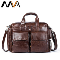 MVA Business Men Briefcase Handbags Leather Laptop Bag Men Messenger Bags Genuine Leather Men Bag Male