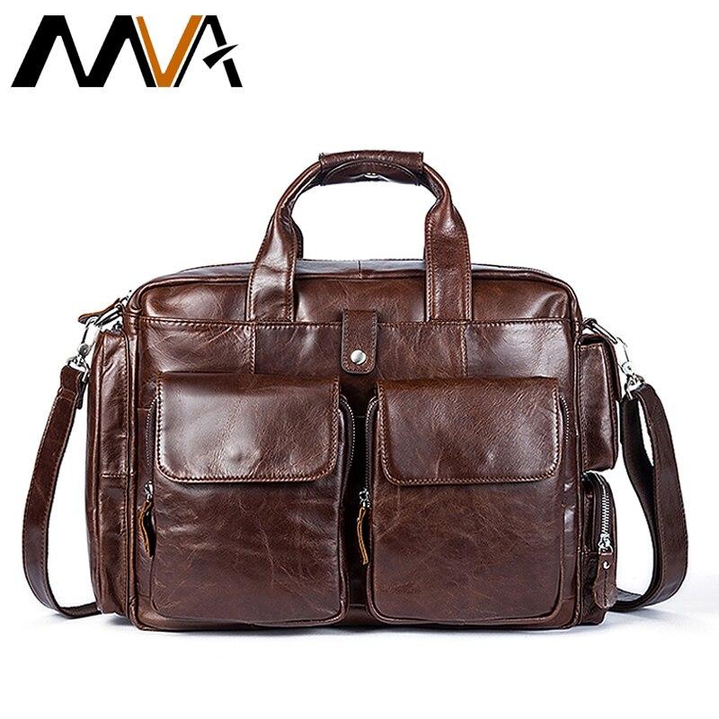 Здесь продается  MVA Genuine Leather Business Mens Briefcases Laptop Bags Messenger Bag Men