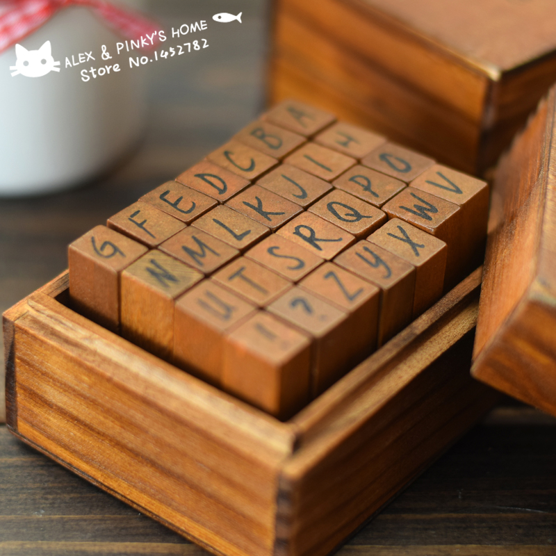 DIY Vintage Wood Rubber Alphabet Stamp Seal Scrapbooking Stamp 28pcs/set Diary Handwritten Cursive Case Optional Ink Pad Stamp цифровая камера other great create lisa pavelka rubber stamp set exotique strip