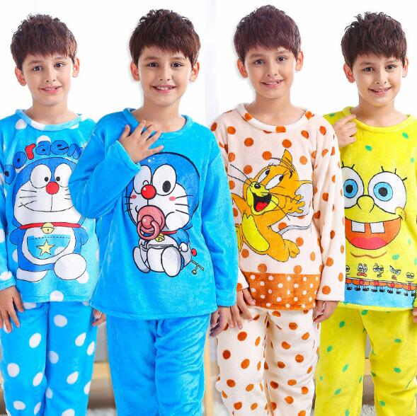 2018 Winter Children Fleece Pajamas Warm Flannel Sleepwear Girls Boy Loungewear Coral Fleece Kids Pijamas Homewear Winter Pyjama