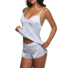 Womens Satin Pajama Set Plus Size Spaghetti Top Lace Trim Split Shorts Sleepwear N9 B