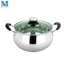 18/20/22cm Stainless Steel Stew Pot Induction Cooker Cookware Soup Stock Pots Double-layer Bottom Cooking Pot WIth Glass Lid(China)