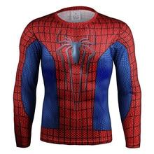Top qualität kompression t-shirts Superman/spider man/captain america/Hulk t-shirt männer fitness männer t shirts langarm