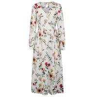 Kate Kasin Long Sleeve Dress Summer Floral Maxi Dress Womens V Neck Front Split Chic Beach