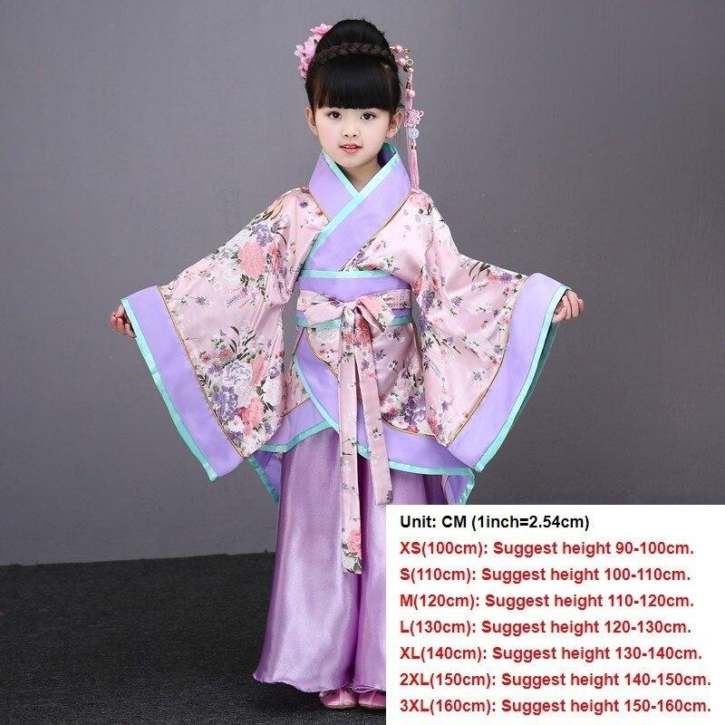 Традиционные китайские танцевальные костюмы для девочек, древняя опера династии Тан, Хан мин ханьфу, платье, детская одежда, народные танцевальные Детские костюмы - Цвет: pink