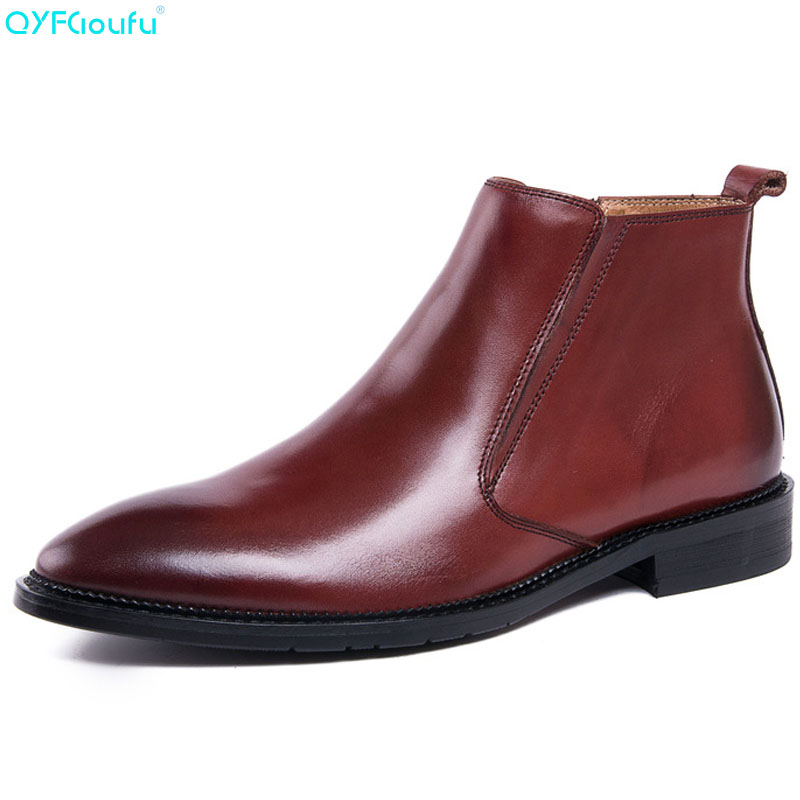 QYFCIOUFU New Mens Genuine Leather Ankle Boots Men Chelsea Pointed Toe Work Boots Man Fashion Designer Zipper Dress Boots ShoesQYFCIOUFU New Mens Genuine Leather Ankle Boots Men Chelsea Pointed Toe Work Boots Man Fashion Designer Zipper Dress Boots Shoes