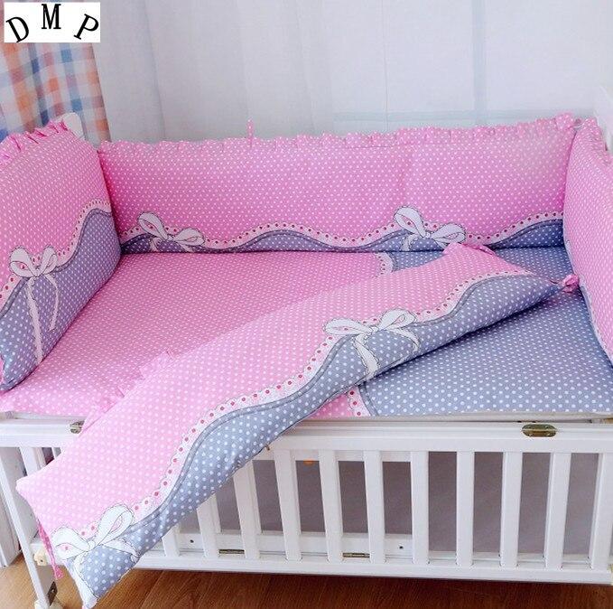 Promotion! 6PCS baby cot bedding set bebe jogo de cama cot crib bedding set (bumpers+sheet+pillow cover) promotion 6pcs baby bedding set cot crib bedding set baby bed baby cot sets include 4bumpers sheet pillow
