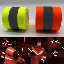 ניאון צהוב & ניאון orange אזהרת קלטת בטיחות בגדי תפירה על