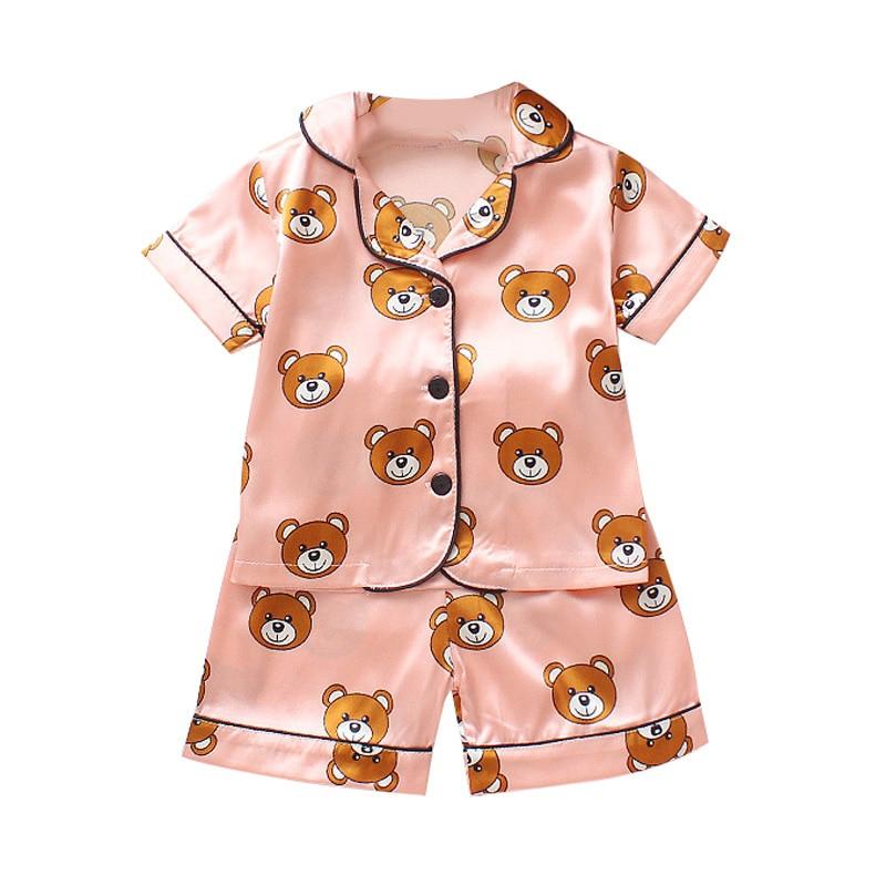 Kids Clothes Baby Pajama Sets Boys Girls Cartoon Bear Print Outfits Set Short Sleeve Blouse Tops+Shorts Sleepwear Satin Pajamas(China)