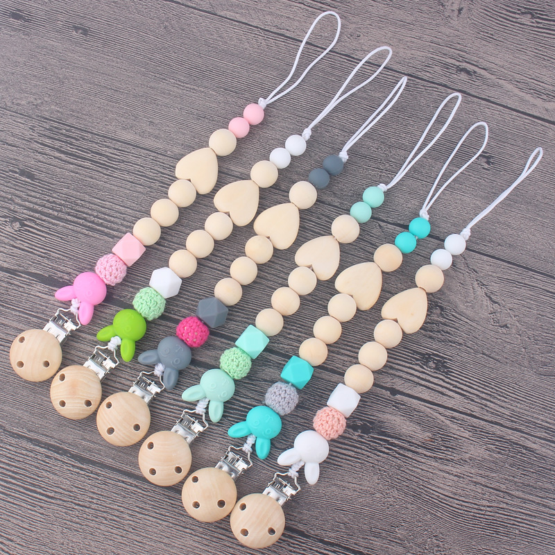 Wooden Baby Pacifier Clip Chains Infant Toddler Crochet Beads
