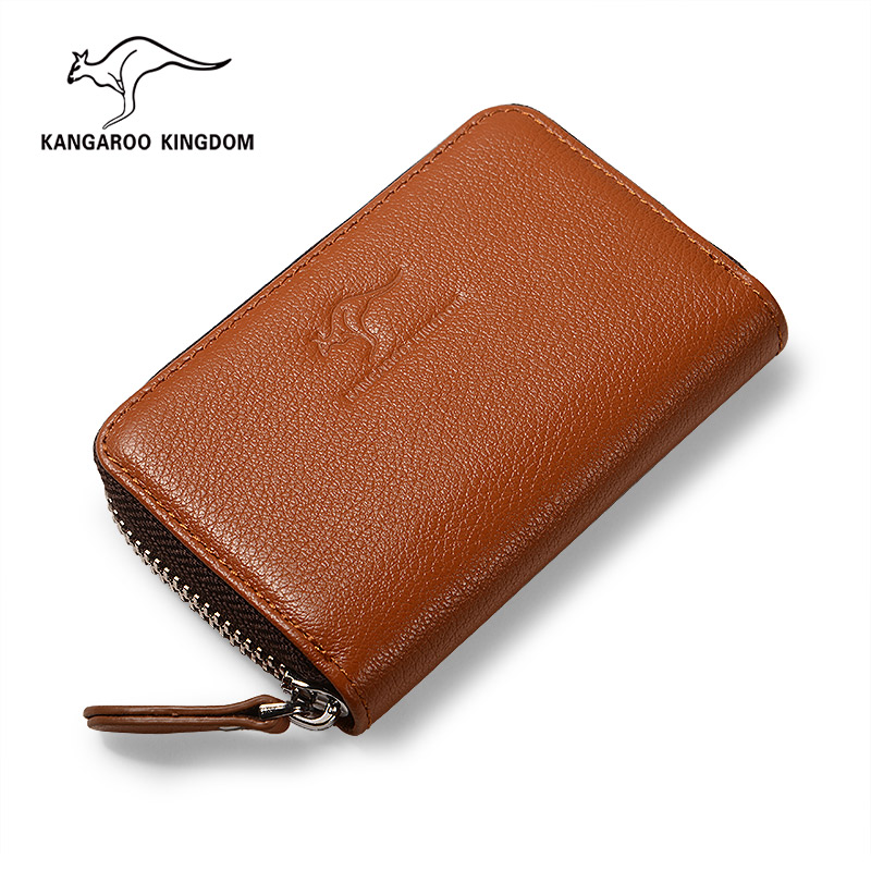 KANGAROO KINGDOM luxury brand genuine leather men credit card holder zipper card case wallet hot sale 2015 harrms famous brand men s leather wallet with credit card holder in dollar price and free shipping