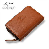 KANGAROO KINGDOM luxury brand genuine leather men credit card holder zipper card case wallet