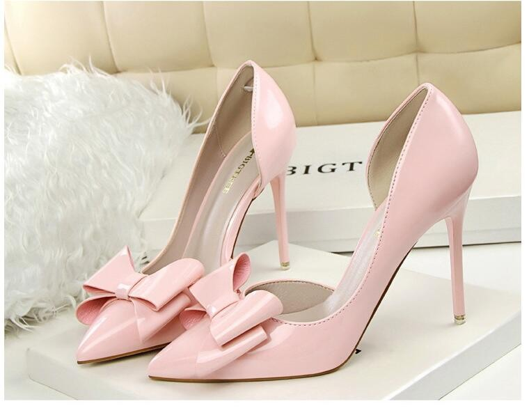 {D&H}Brand Women Shoes High Heels Women's Pumps Bow Two Piece Thin Heel Wedding Shoes Valentine Shoes White zapatos mujer 5