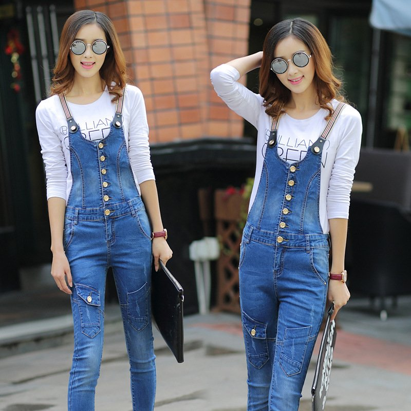 ФОТО REASARD Brand Women Denim Jumpsuit 2017 Spring Autumn Casual All Match Slim Vintage Loose Solid Jeans Overall Women Clothing