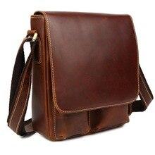 Tiding ручная Мужская Ретро сумка-Кроссбоди из натуральной кожи Маленькая сумка-мессенджер сумка-портфель дорожная сумка(красный коричневый