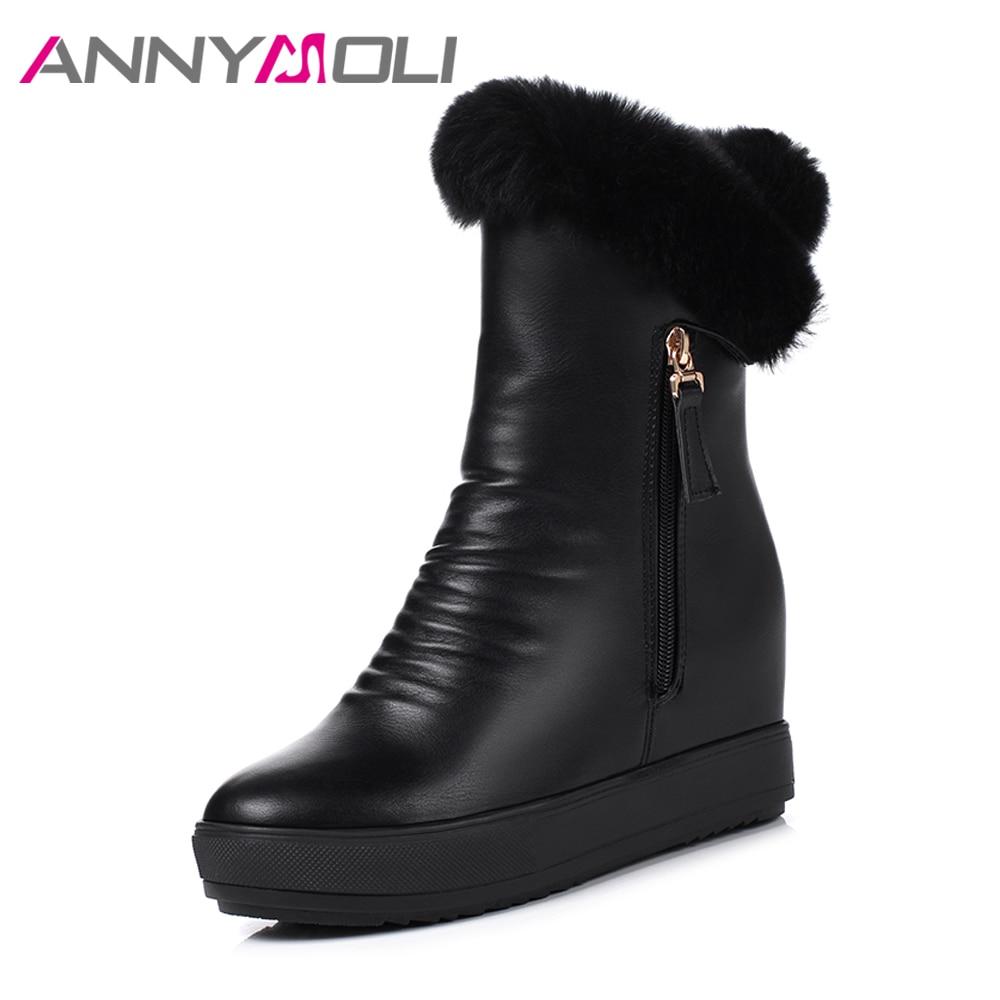ANNYMOLI Winter Snow Boots Plush Women Mid-Calf Boots Real Fur Platform Wedge Boots Hidden High Heel Shoes Zip Shoes White Black hidden wedge platform fuzzy boots