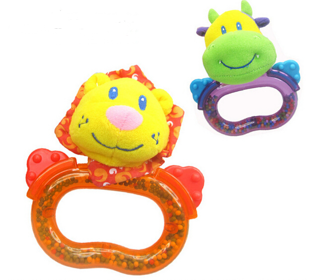 candice guo! hot sale baby toy gift colorful hand shaking Rattle ring bell sound Teether Lion cattle 2pcs/lot