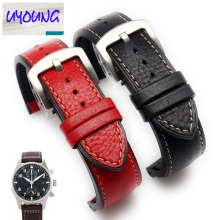 UYONG Italy break leather strap, universal men's watch waterproof TPU base, 22mm red and black brown Red Blue