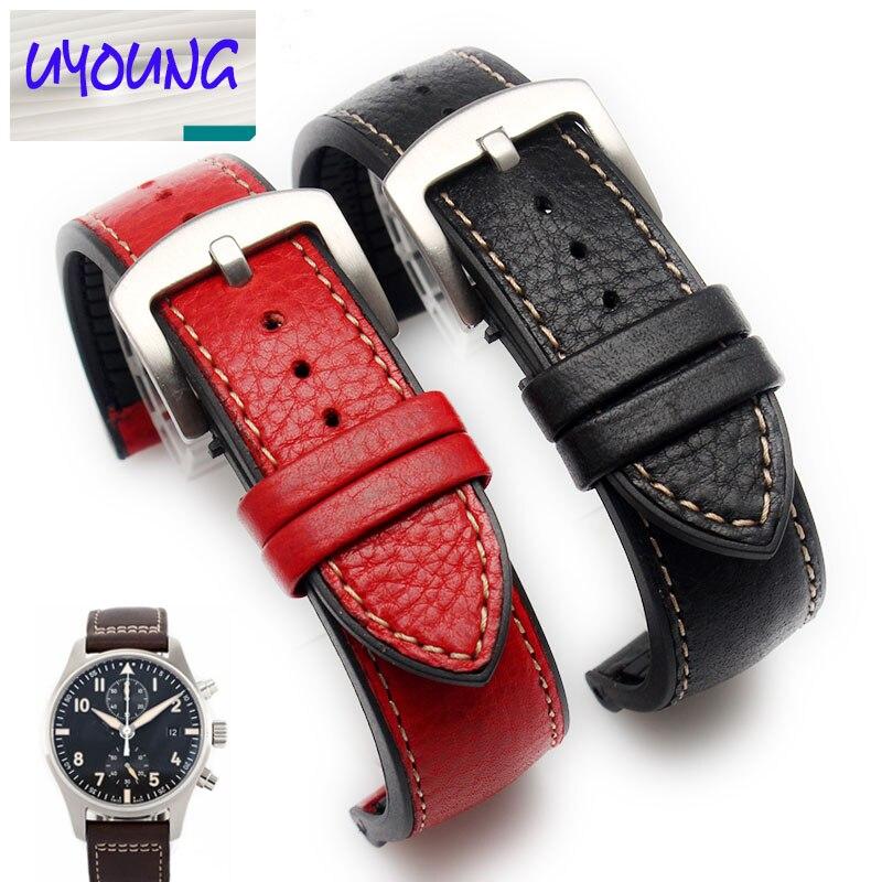 UYONG italie break bracelet en cuir, montre pour hommes universelle base TPU étanche, 22mm rouge et noir marron rouge bleu
