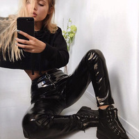 ZARORIN Korean Fashion Black PU Leather Skinny Pencil Pants Women Stretch Zipper Leather Pants Ladies Trousers Long Casual pants