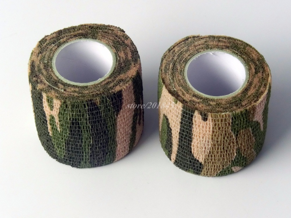 24 Rolls Cohesive Non Woven Bandage Grass Camo  Camping Hunting Self Adhesive Camouflage Tape For Gun Cloths Wrap 5cmx4.5m aa shield outdoor camping bandage camo tape military rifle covert adhesive multicolor gun black