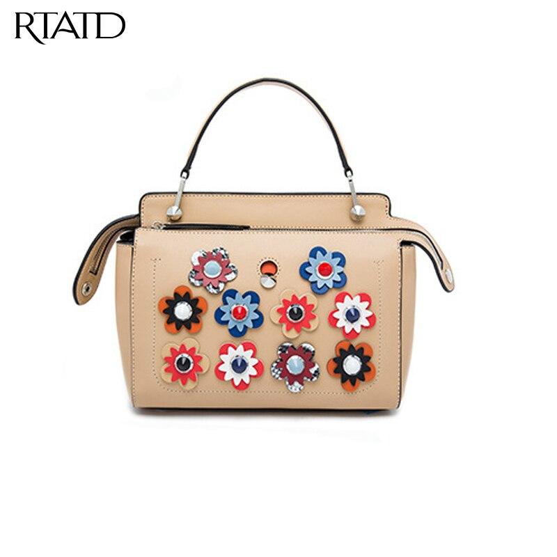 RTATD New Flower dot handbags Stud lady strap shoulder bags chic design brand fashion girls show bags high quality hot sell B054