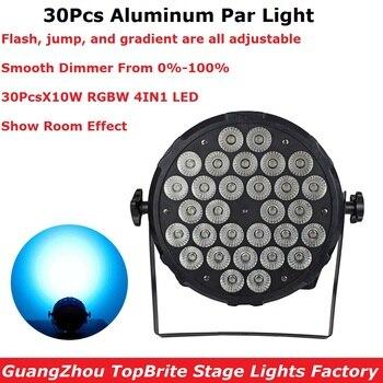 Aluminum Alloy LED Par Lights 30X10W RGBW 4IN1 LED Flat Par Cans 0-100% Linear Dimmer  4/8 Chs Professional Dj Shows Projector