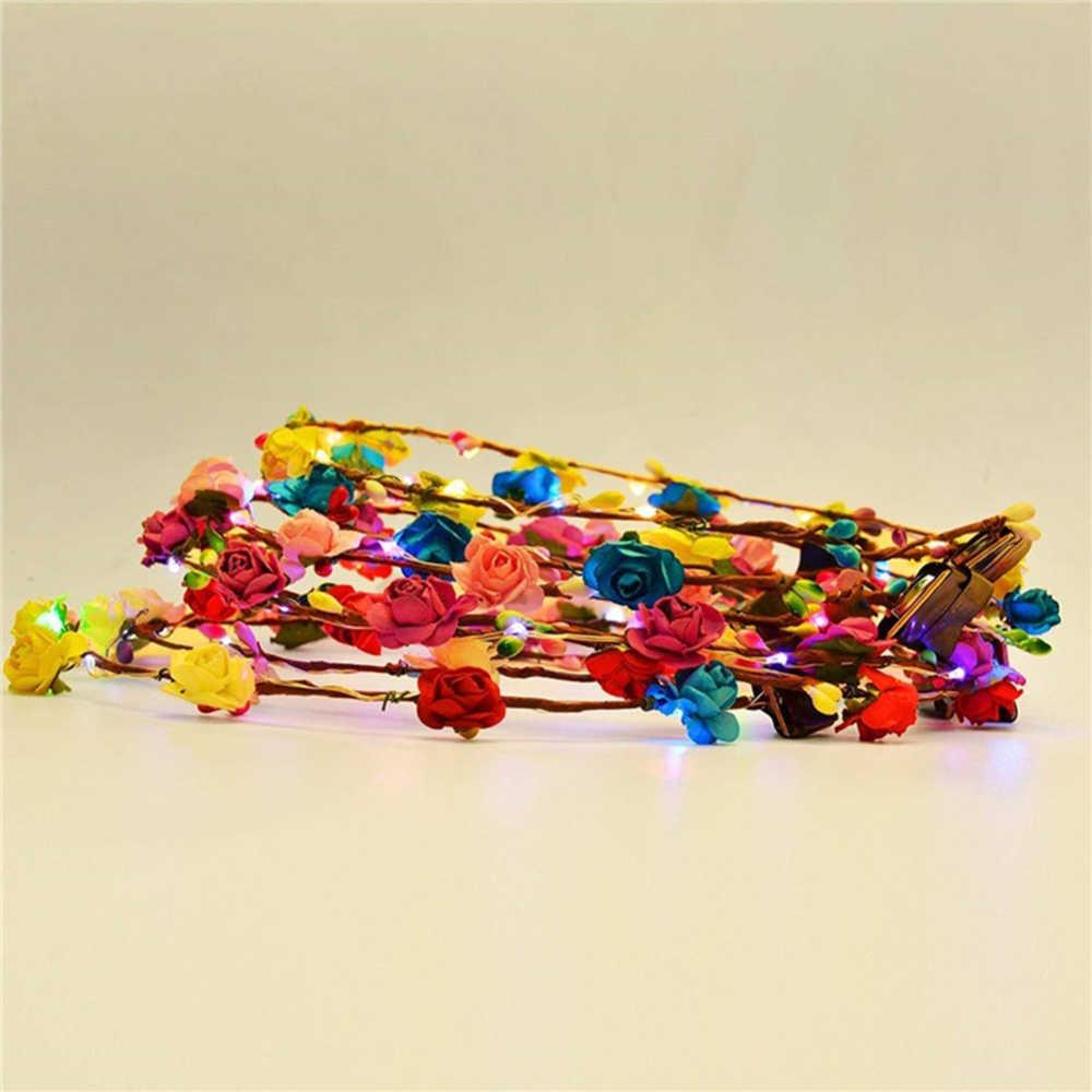 10pca/ชุดตกแต่งงานแต่งงาน LED ดอกไม้มงกุฎปรับพวงหรีดดอกไม้พวงหรีด Headdress