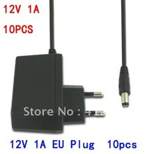 10pcs Security EU German Euro 2pin Plug AC100-240V to DC 12V 1A 1000mA Power Supply Adapter Switch for CCTV Camera/LED EU1A