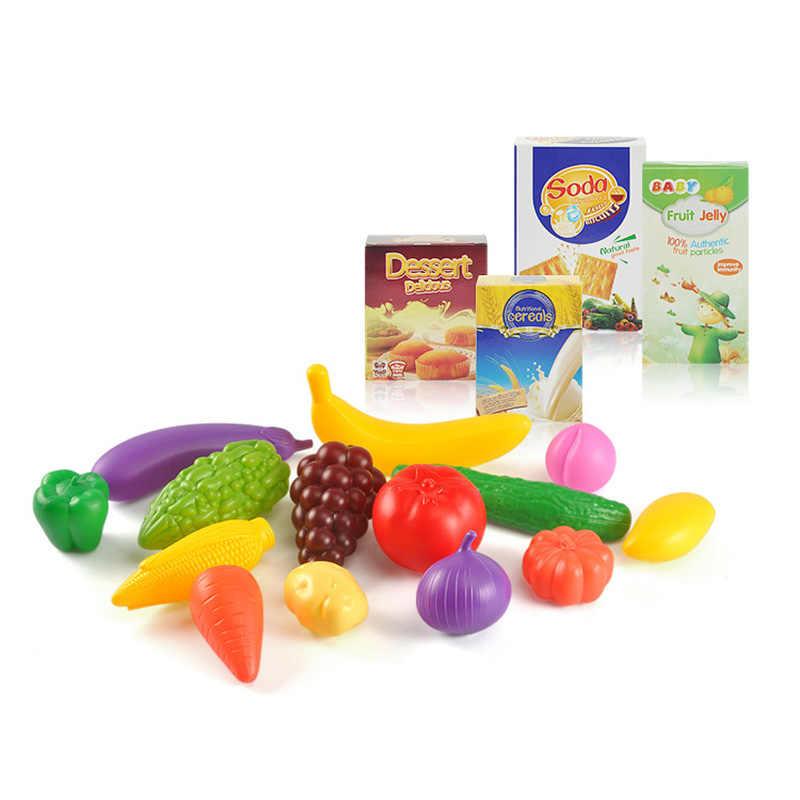46 cm Anak Perempuan Laki-laki Hadiah Mainan Mini Keranjang Belanja Dapur Mainan dengan Penuh Makanan Kelontong Mainan Playset Untuk Lucu Anak Bermain Peran mainan