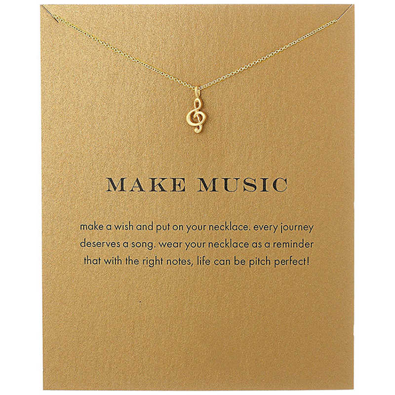 Fashion Musical Note Pendant Necklace Women Minimalist Clavicle Chain Statement Choker Necklaces Valentine's Day Gift Card