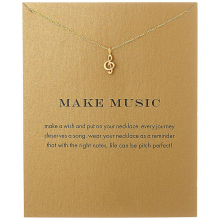 Fashion Musical Note Pendant Necklace Women Minimalist Clavicle Chain Statement Choker Necklaces Valentines Day Gift Card