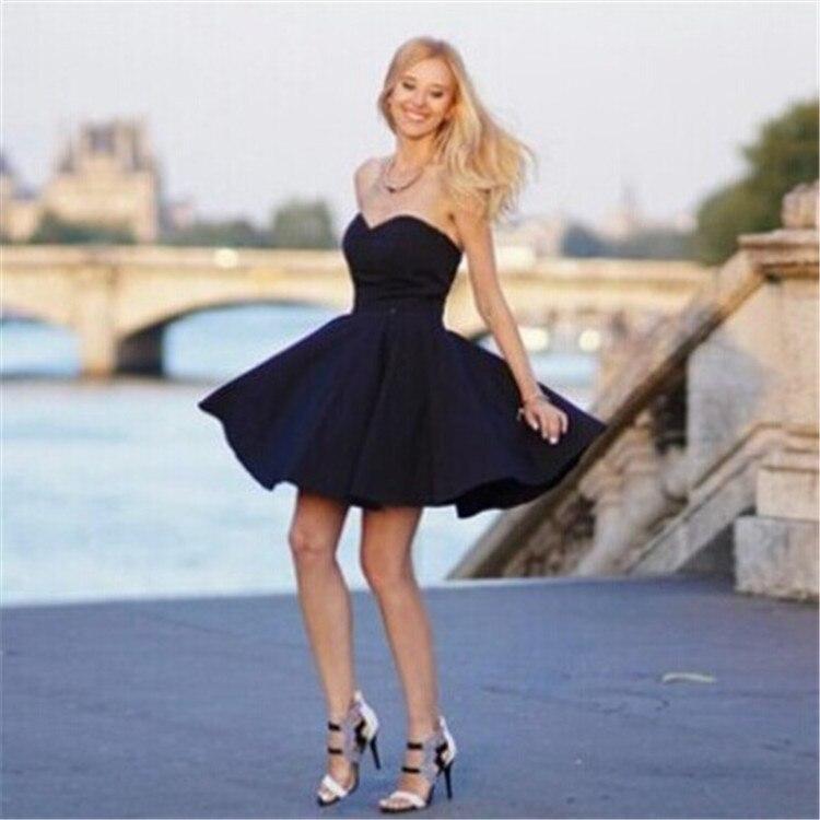2015 Cute Black Dress Strapless Backless Skater Dress Elegant Summer