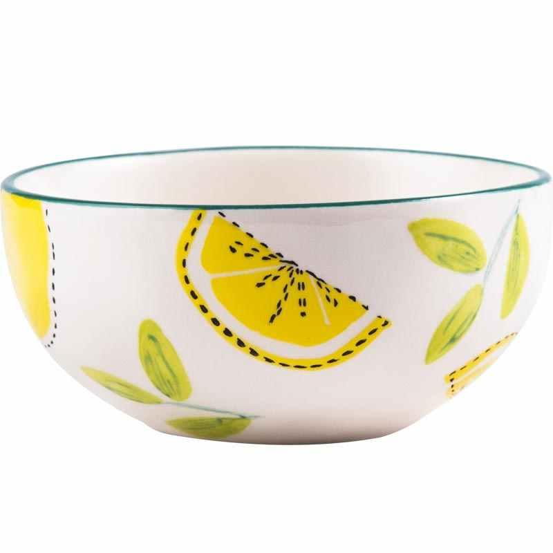 Керамические чаши для риса и супа салатник большая чаша японский набор посуды Ручная роспись Лето лимон