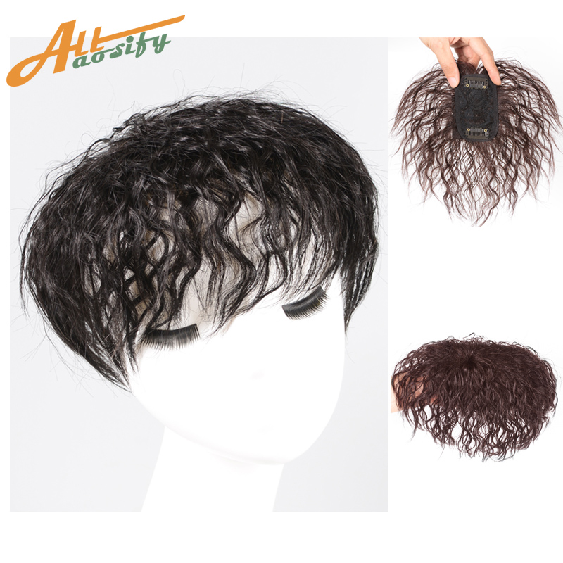 Allaosify Hairpins Corn Beard Toupee Hairpieces Curly Hair With Bangs For Women Synthetic Piece Closure Kinky Curly Black Short
