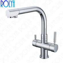 цена на Rolya Ronda 3-Way Kitchen Faucet Osmosis Tri Flow Sink Mixer 3 Way Water Filter Tap Chrome Solid Brass