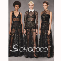 New galaxy starry sky high cold black yarn exquisite Goddess sequins embroidery heavy duty embroidery dress.
