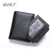 BAQI Brand Men Wallet Genuine Leather Cow Leather High Quality Men Coin Purse Card Holder 2019 Fashion Man Zipper Wallet Short недорого