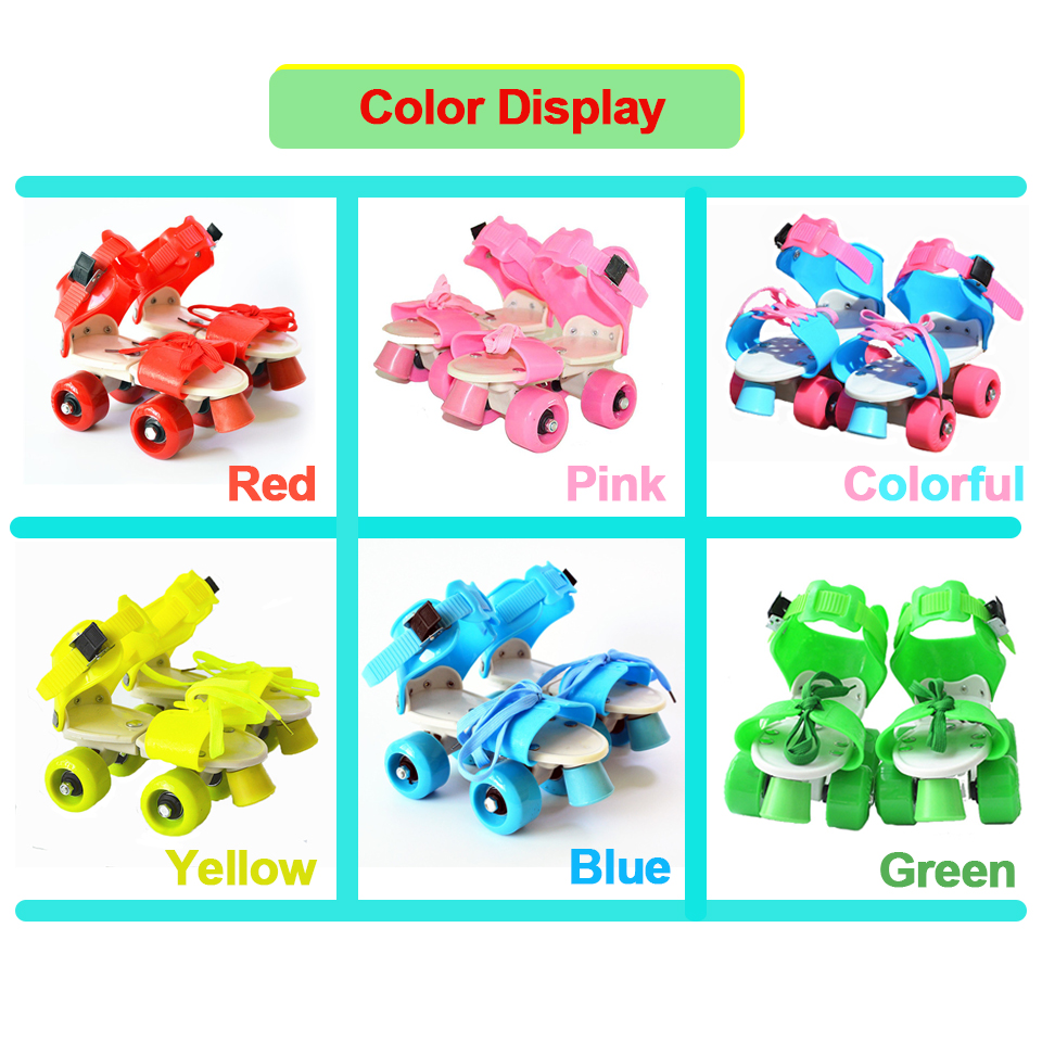Image 4 - Children Two Lines Roller Skates Double Row 4 Wheel Skating Shoes Adjustable Size Sliding Inline Patines En Linea Kids'Gift IB02-in Skate Shoes from Sports & Entertainment