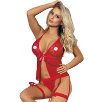 Red white halter women nighties sexy with leg ring new design sexy nightwear lingerie backless hot erotic porn babydoll J7356