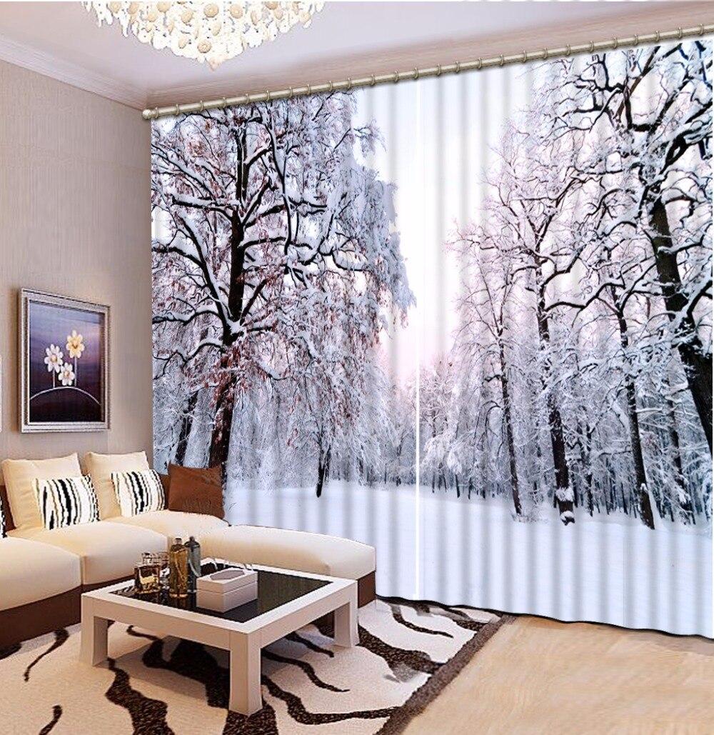 3D Foto Da Cortina Personalizar O Tamanho Da Floresta Da Neve do Cenário Cortina Quarto Escritório Sala de estar Cortinas Quebra Do Chuveiro Do Banheiro