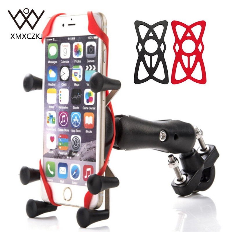 XMXCZKJ Motorcycle Handlebar Bike Mobile Cell Phone Mount Holder Support Bicycle Silicone X-grip Phone Stand For Smartphone GPS