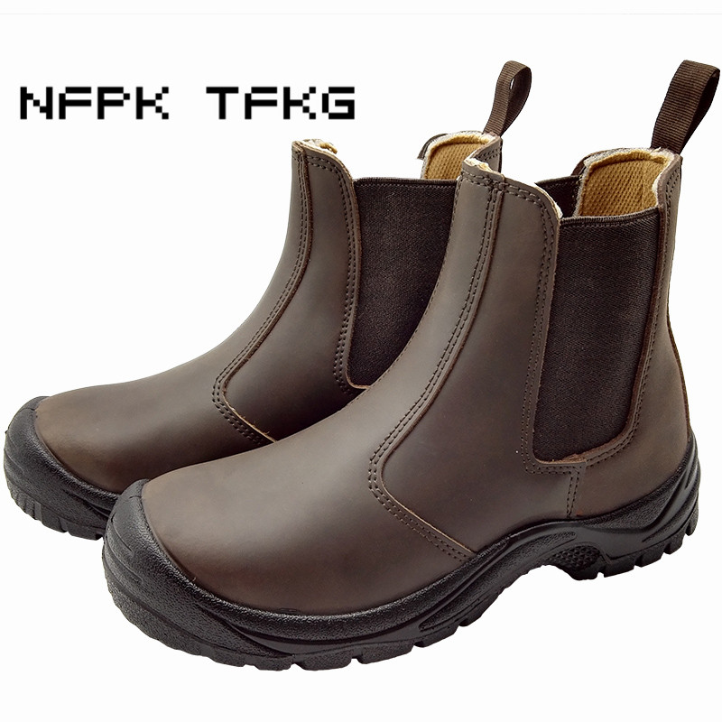 big size men fashion steel toe cap work safety shoes genuine leather platform tooling security ankle boots slip on zapato hombre big size men casual breathable steel toe cap working safety shoes soft leather non slip tooling security boots protective zapato