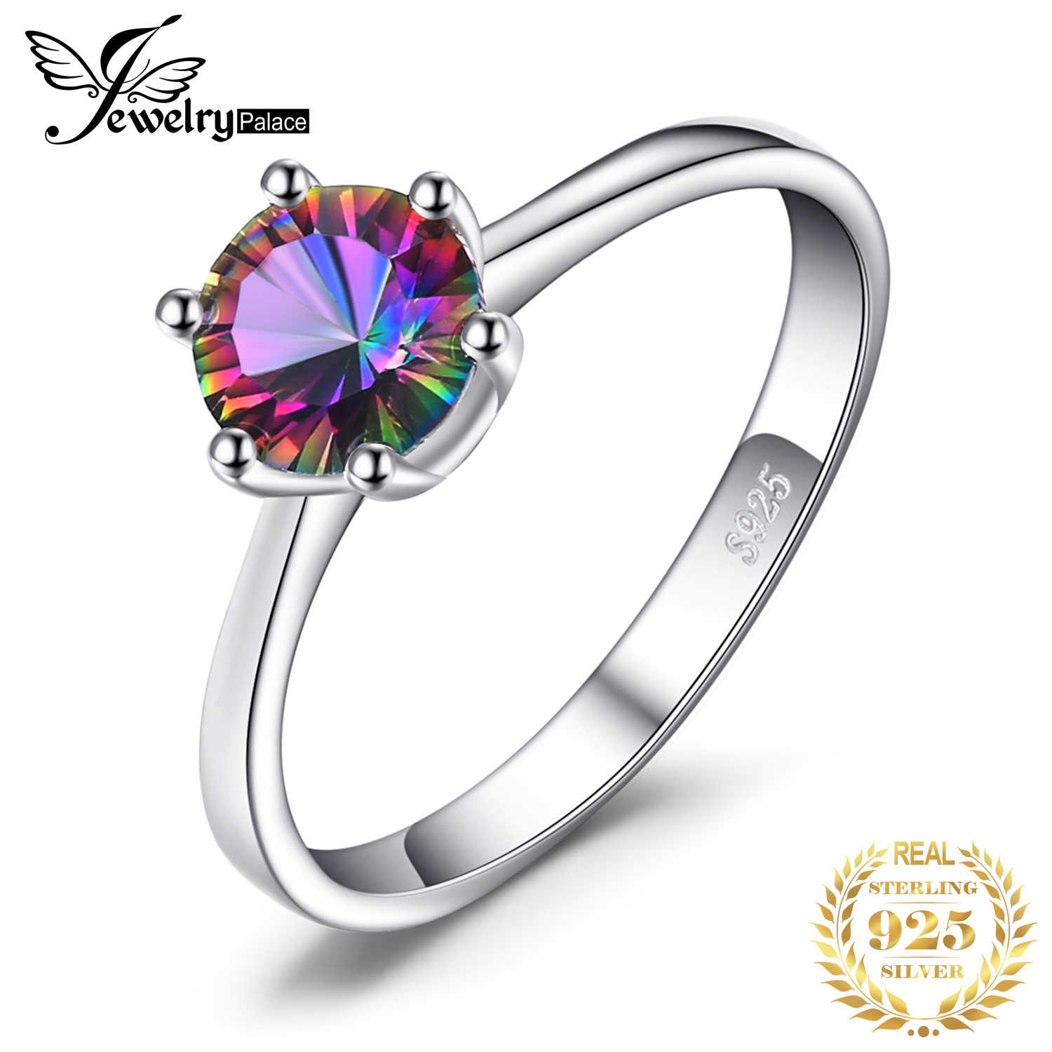 JewelryPalace sterling silver ring Womens 1ct Mystic Fire Rainbow Topaz Engagement Wedding  Unique Brand Girl Friends Gift