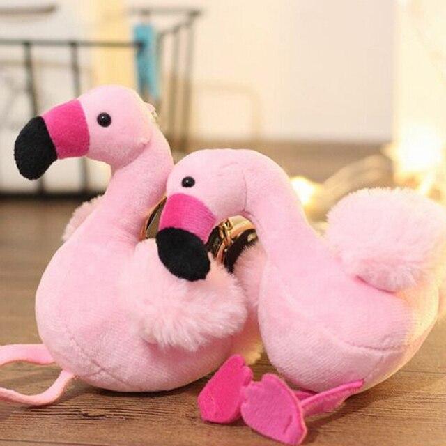 Moda Novo Saco De Pele Mulher Encantos Flamingo Chaveiro Pompom Fofo Pom Chaveiros Carro Pingente de Chave Anel Titular de Jóias de Natal