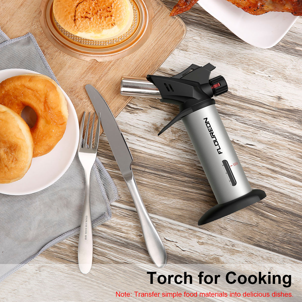 Floureon Food Cooking Blow Torch Kitchen Lighter Butan Torch With Safe Lock  For Cooking Hookah Welding BBQ Process Jewelry