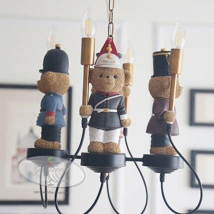 Британский Тедди люстра с мишкой детская лампа для мальчиков и девочек спальня Американский креативный мультфильм кукла светодиодный поли