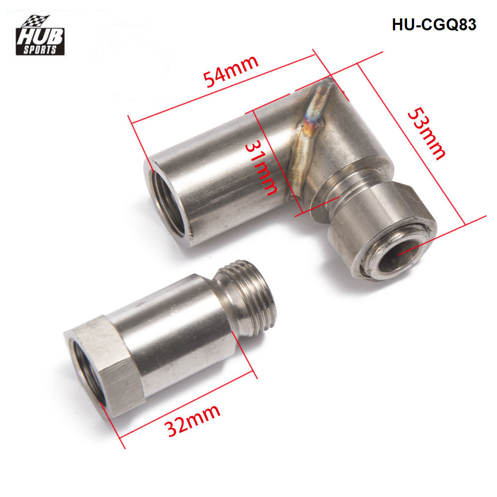 O2 Oxygen Sensor Angled Exhaust Extender 90 Degree 02 Bung Extension M18 x 1.5