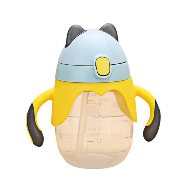 250ml Cute Baby Cup Kids Children Learn Feeding Drinking Water Straw Handle Bottle Training Cup Baby Feeding Cup