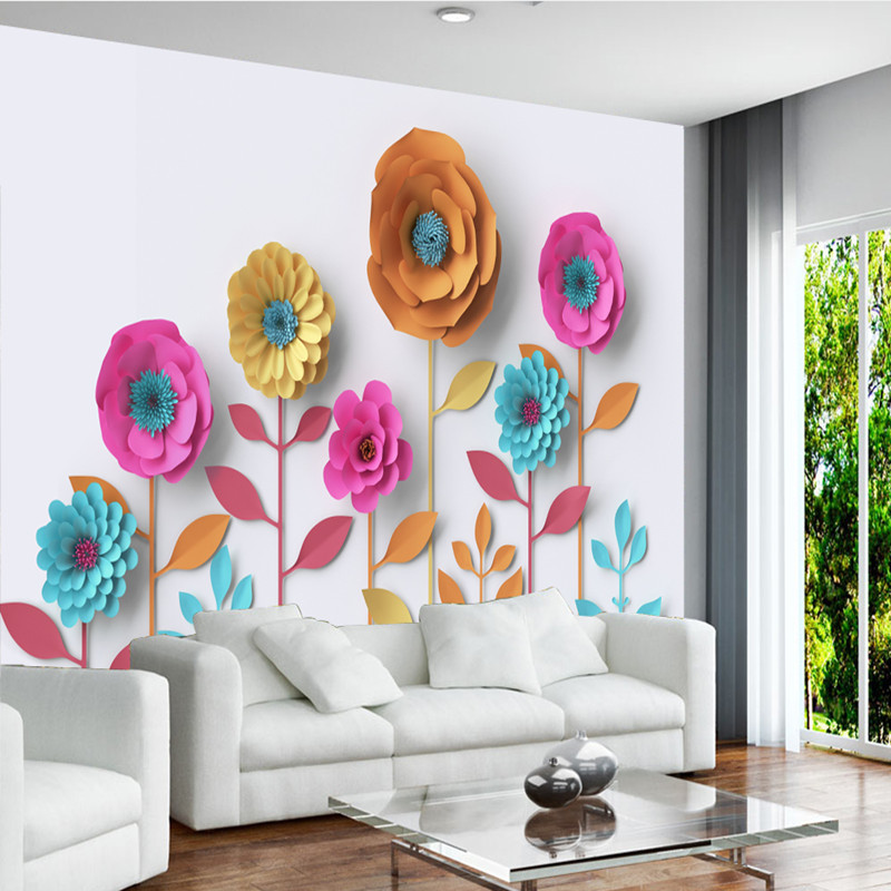 Custom Wallpaper for Walls 3D Wall Murals Flowers Three-dimensional Wallpaper Modern Style Home Decor Wall Sticker 3D Wall Mural stylish mirkwood design 3d wall sticker for home decor